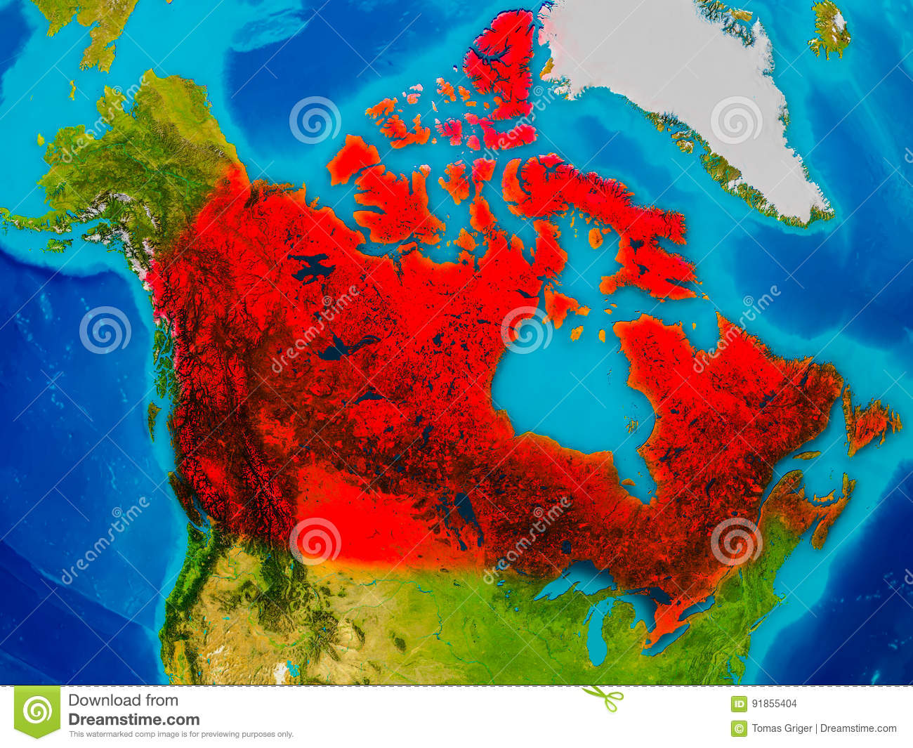 Canada on physical map stock illustration. Illustration of geography ...