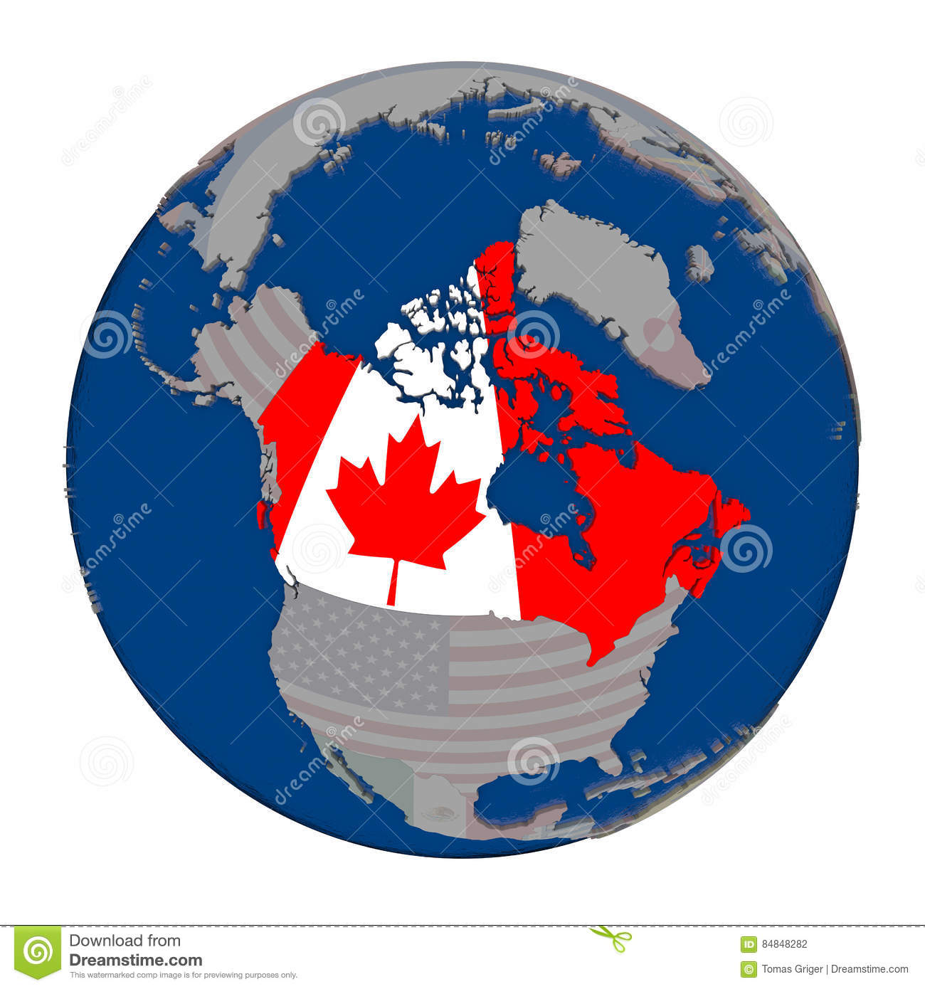 Map Of Canada On Globe.Canada On Political Globe Stock Illustration Illustration Of Full