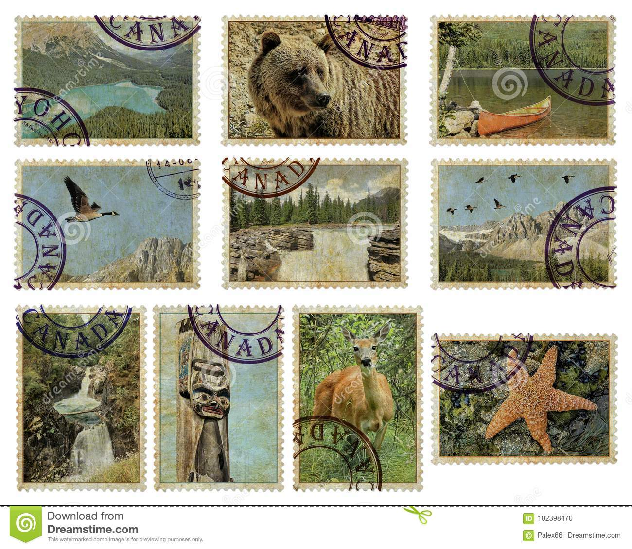 Canada Postage Stamps Stock Photo Image Of Landscapes 102398470
