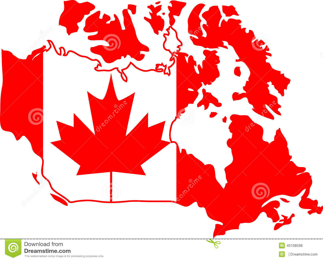 Map Of Canada Red.Canada Stock Vector Illustration Of Computer Middle 45108598