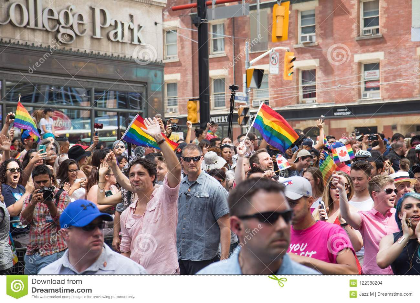 Canada`s Prime Minister Justin Trudeau waving at Toronto Pride