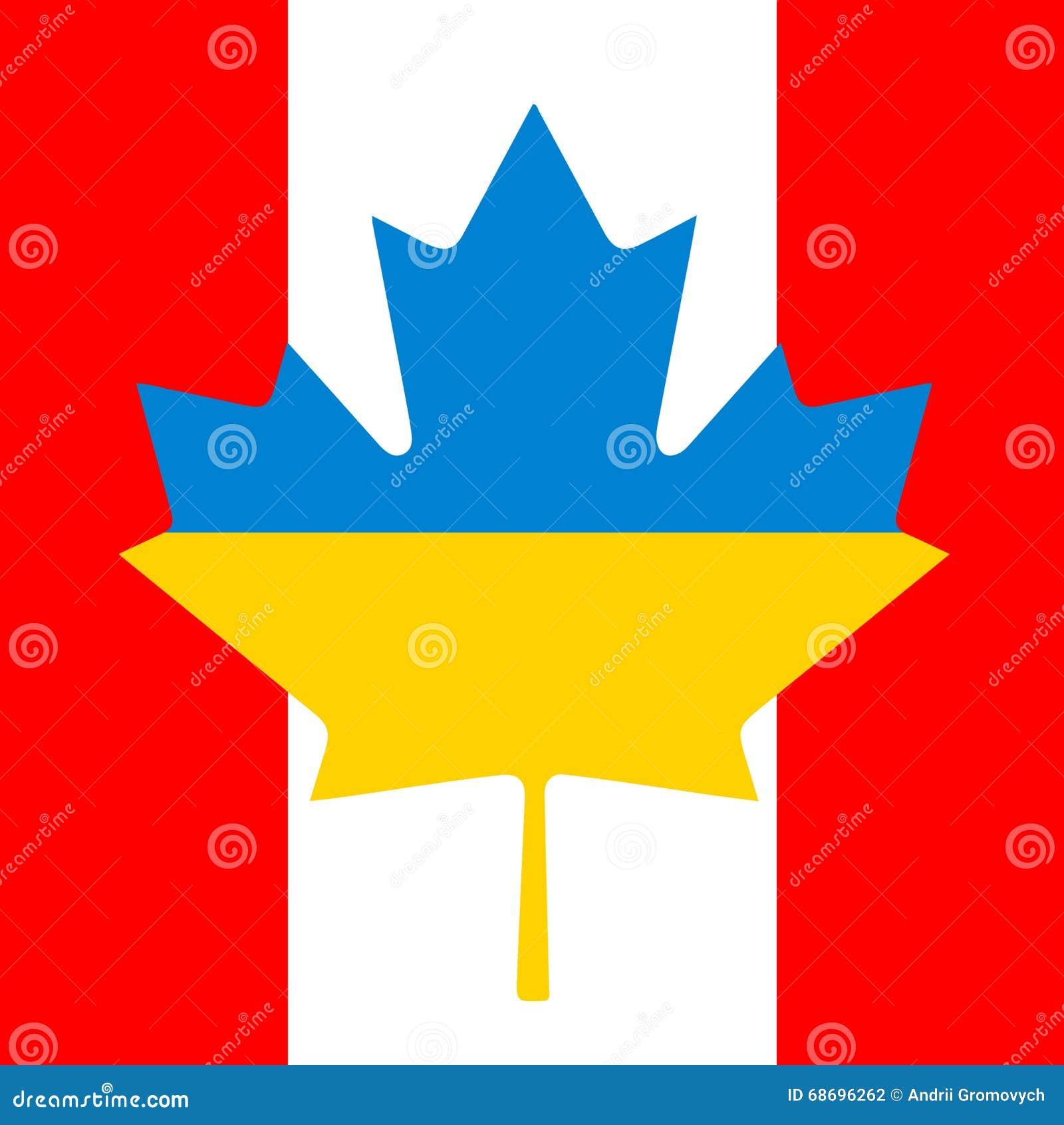 canada ukraine flag friendship stock vector image 68696262