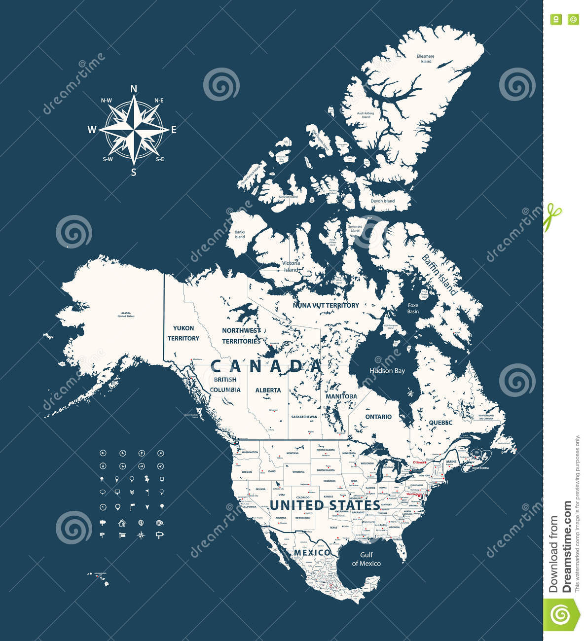 Canada United States And Mexico Map With States Borders On Dark
