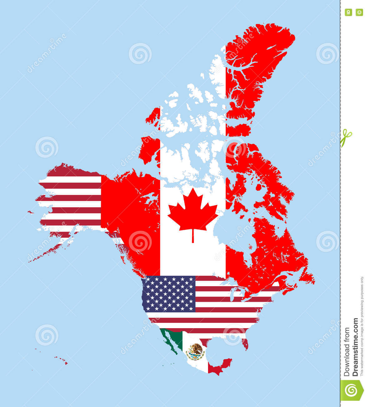 Canada United States And Mexico Vector Map Combined With Flags