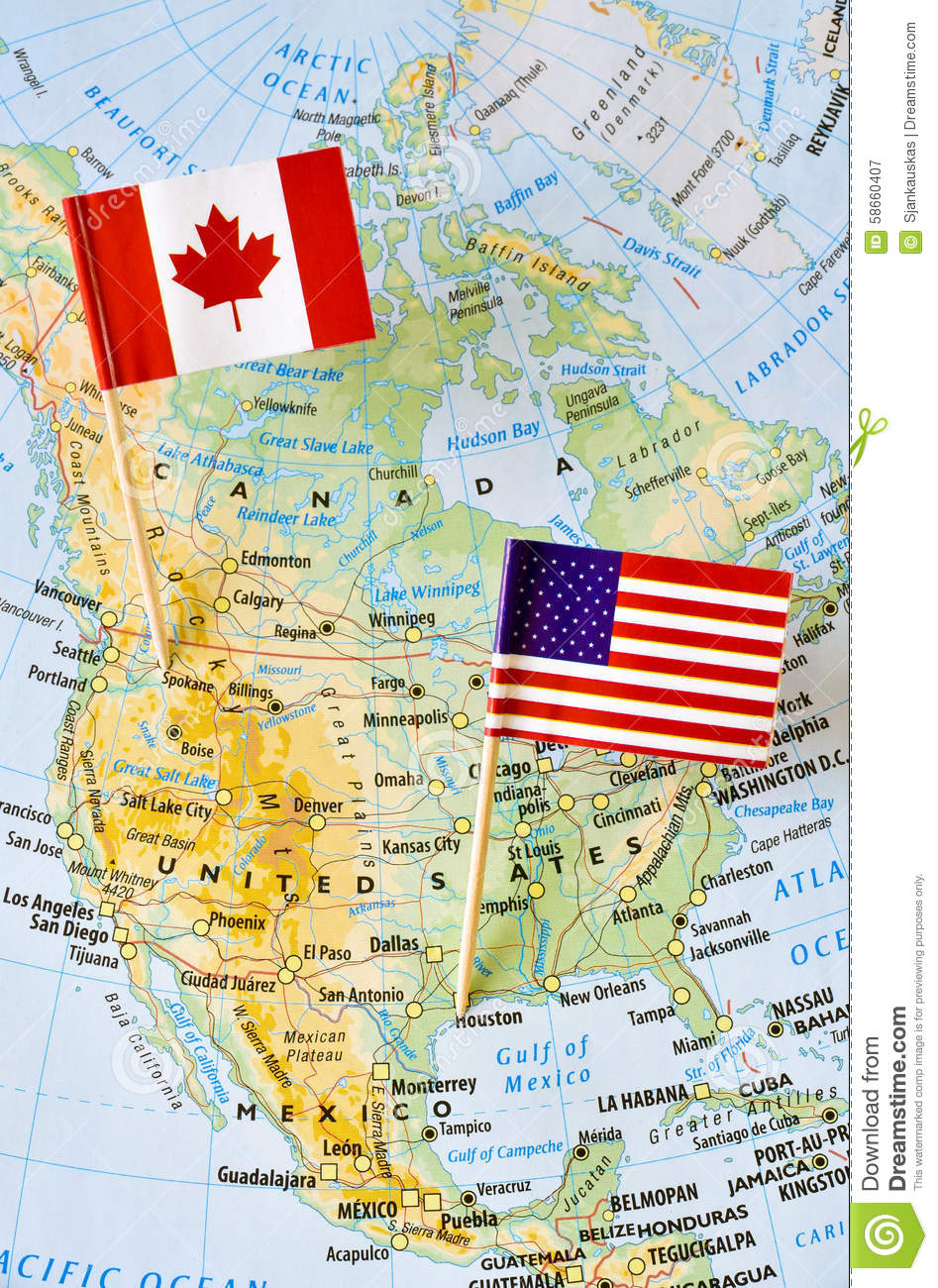 Canada And USA Flag Pin On Map Stock Photo Image - Map of canada and usa