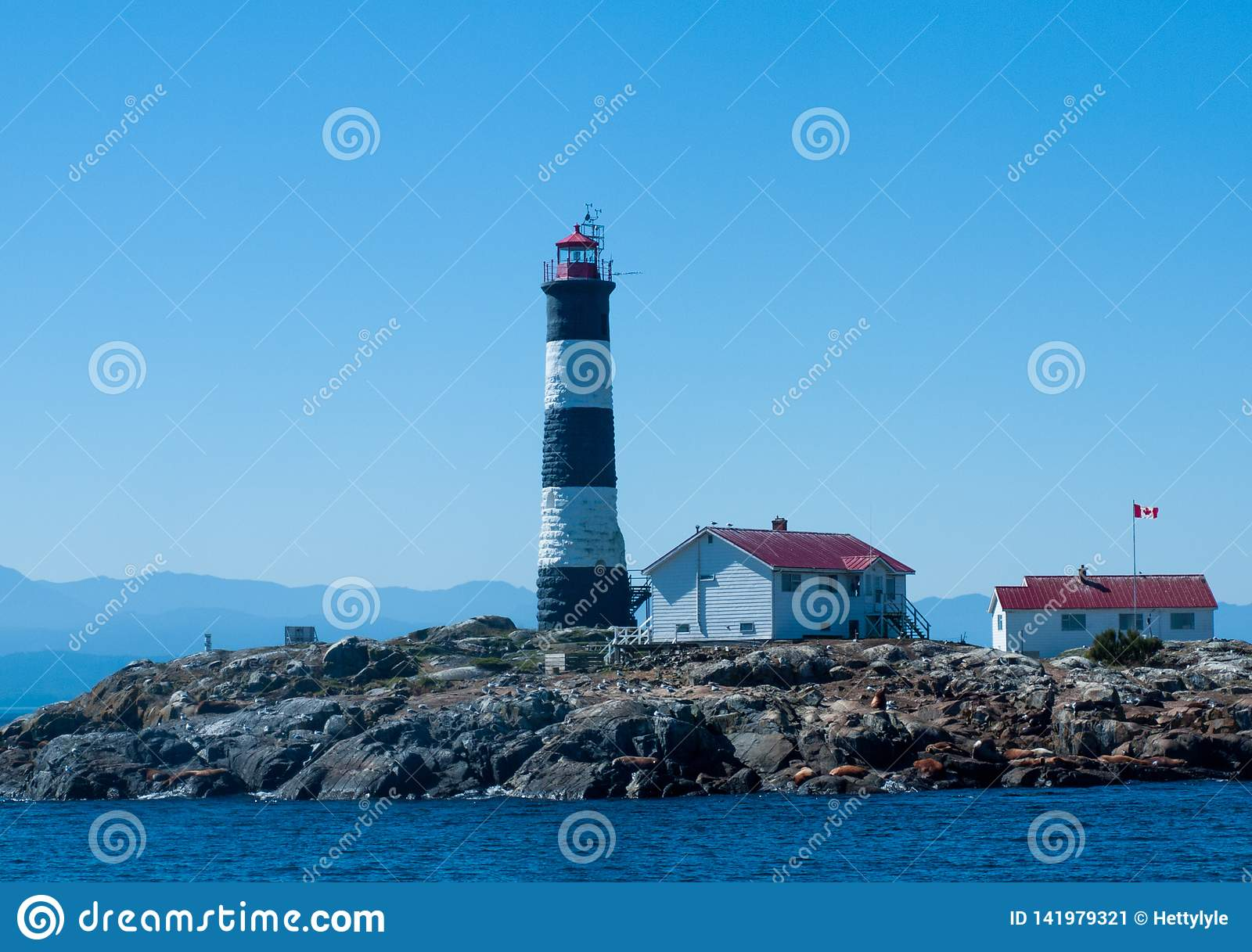 Canada, Vancouver Island, Pacific, lighthouse, sea-lions on rocks, island,