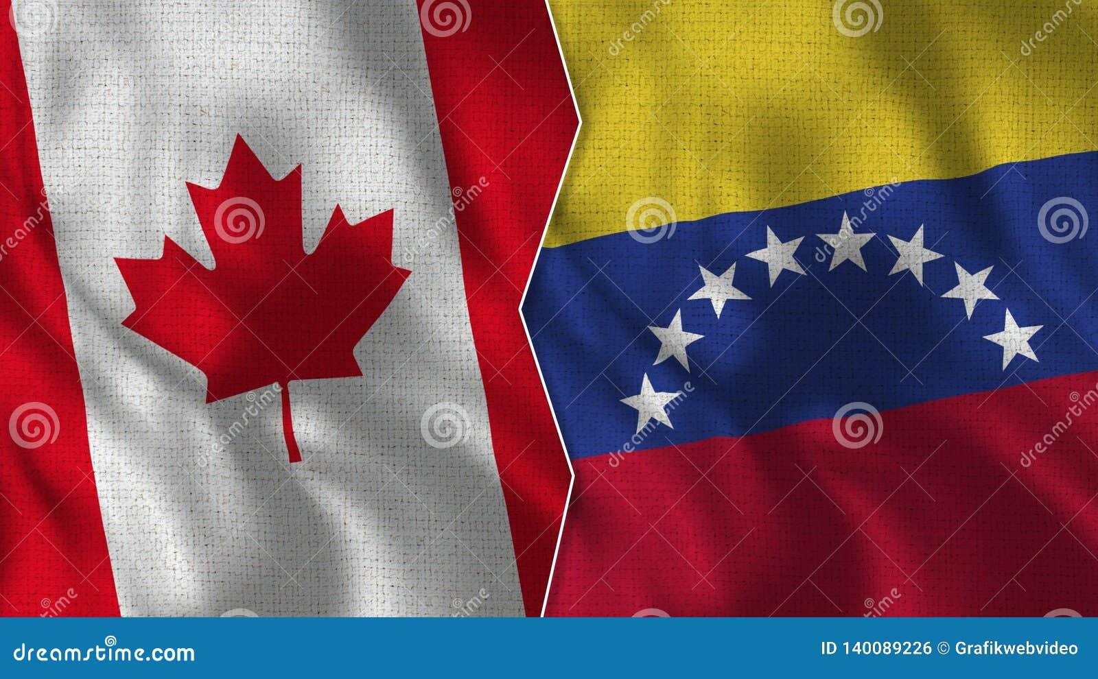 Canada and Venezuela Half Flags Together