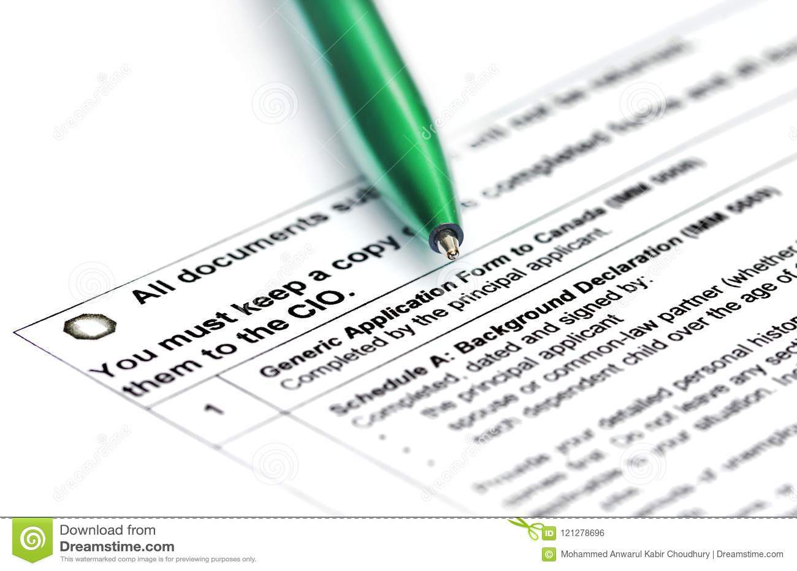 Canada Visa Application Form Stock Photo Image Of Citizenship Tourist 121278696