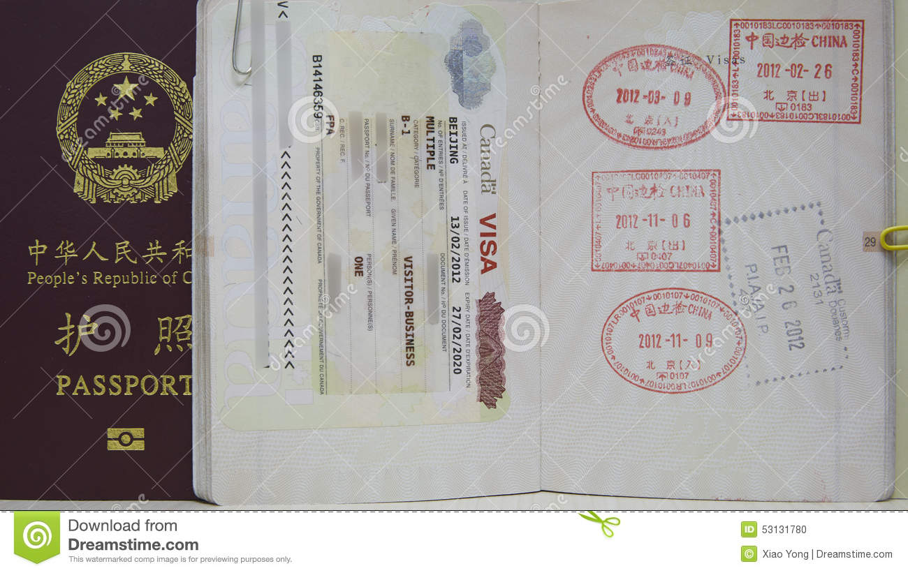 Canada VISA And China Passport Stock Photo - Image of cover