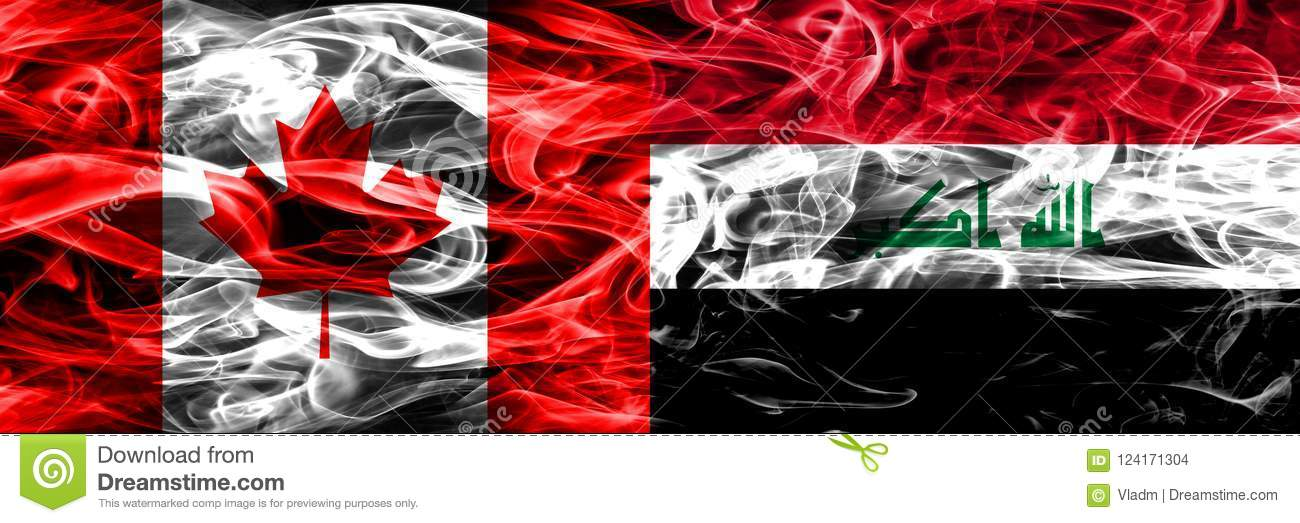 Canada Vs Iraq Smoke Flags Placed Side By Side Canadian And Ira