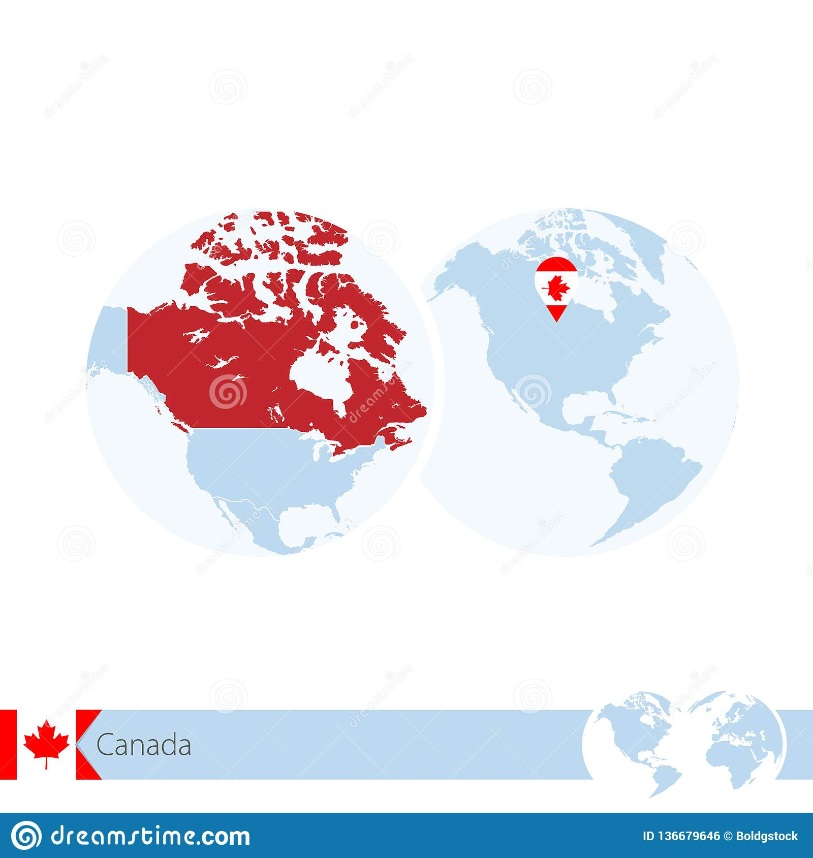 Map Of Canada On Globe.Canada On World Globe With Flag And Regional Map Of Canada Stock