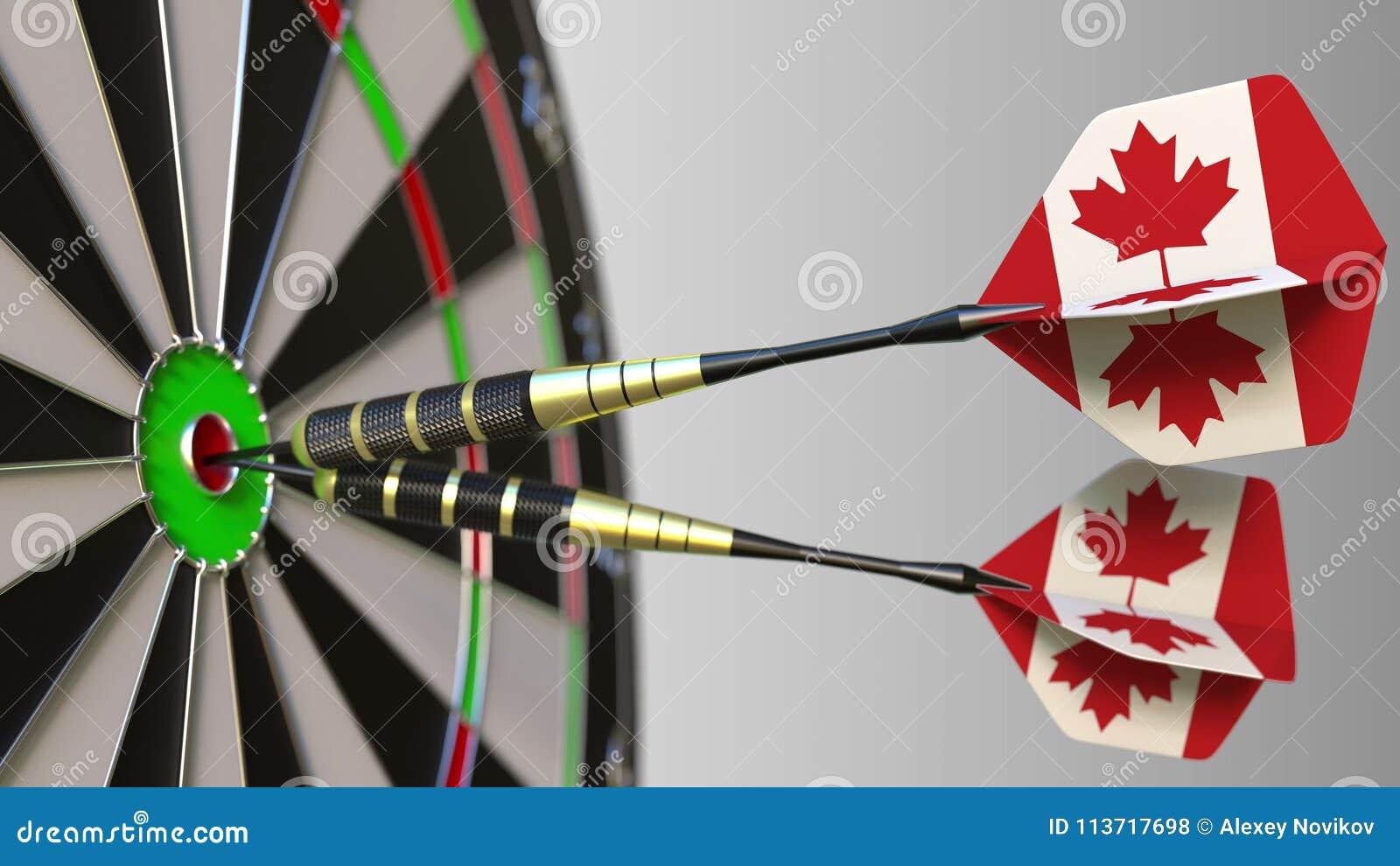 Canadese nationale voltooiing Vlaggen van Canada op pijltjes die bullseye raken Het conceptuele 3d teruggeven