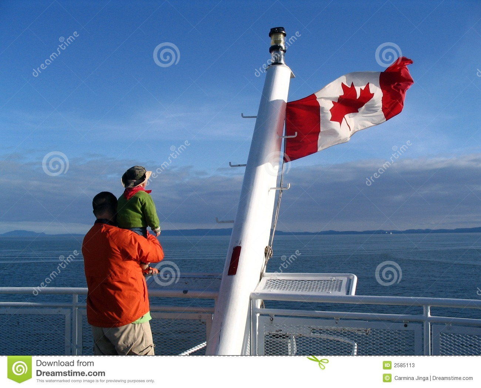 Canadese vlag met familie