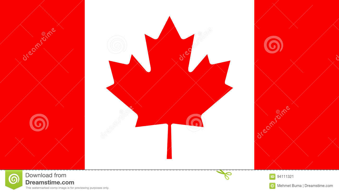 Canadese vlag, vlakke lay-out, illustratie