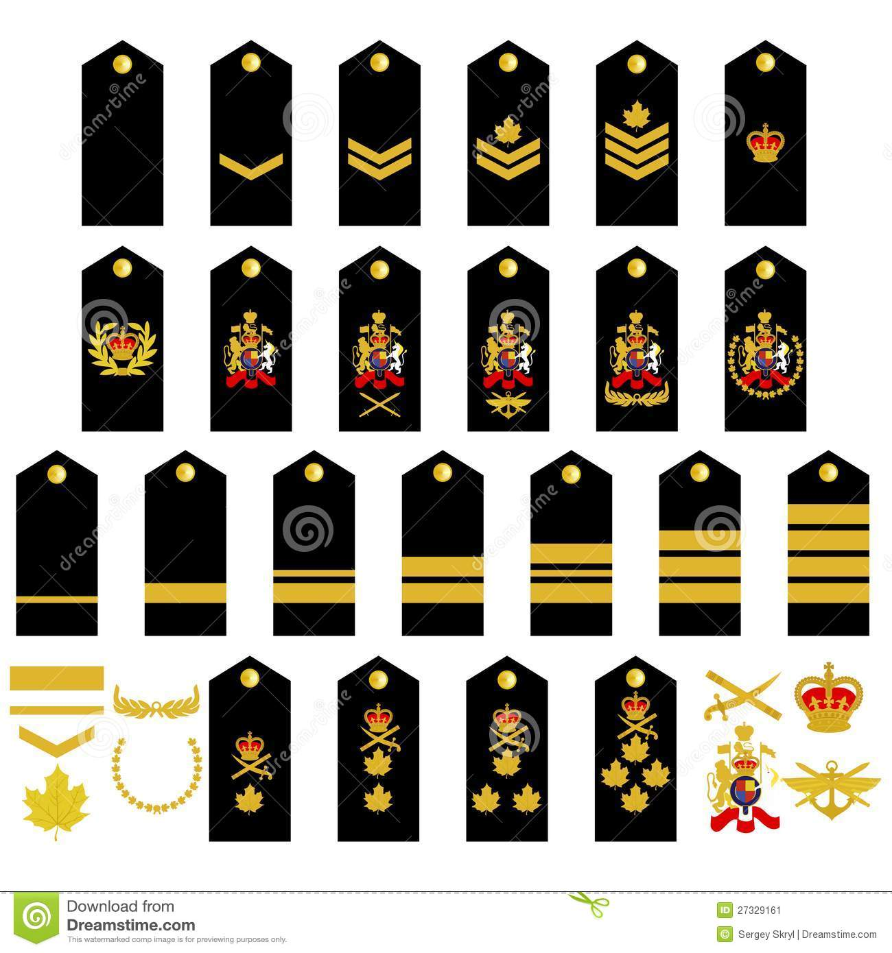 Epaulets, military ranks and insignia. Illustration on white ...
