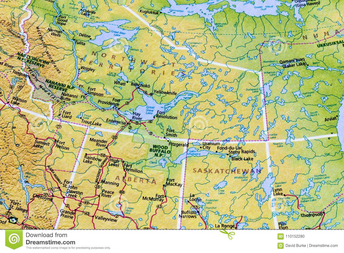 Northwest Territories Canada Map.Canadian Canada Map Atlas Stock Photo Image Of Vacation 110152280