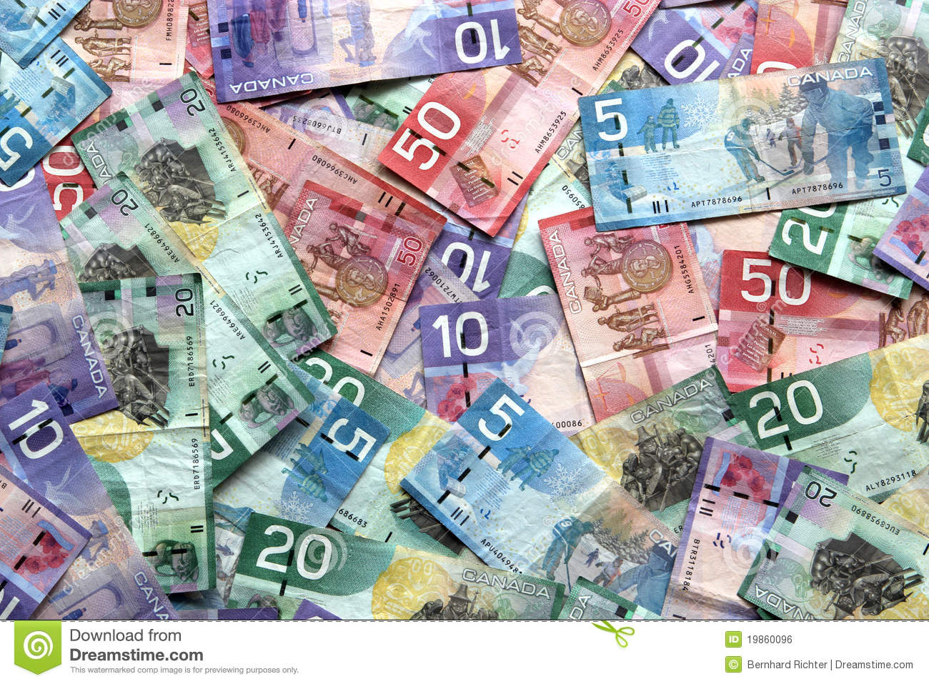 Canadian Dollar Bills Royalty Free Stock Image - Image: 19860096