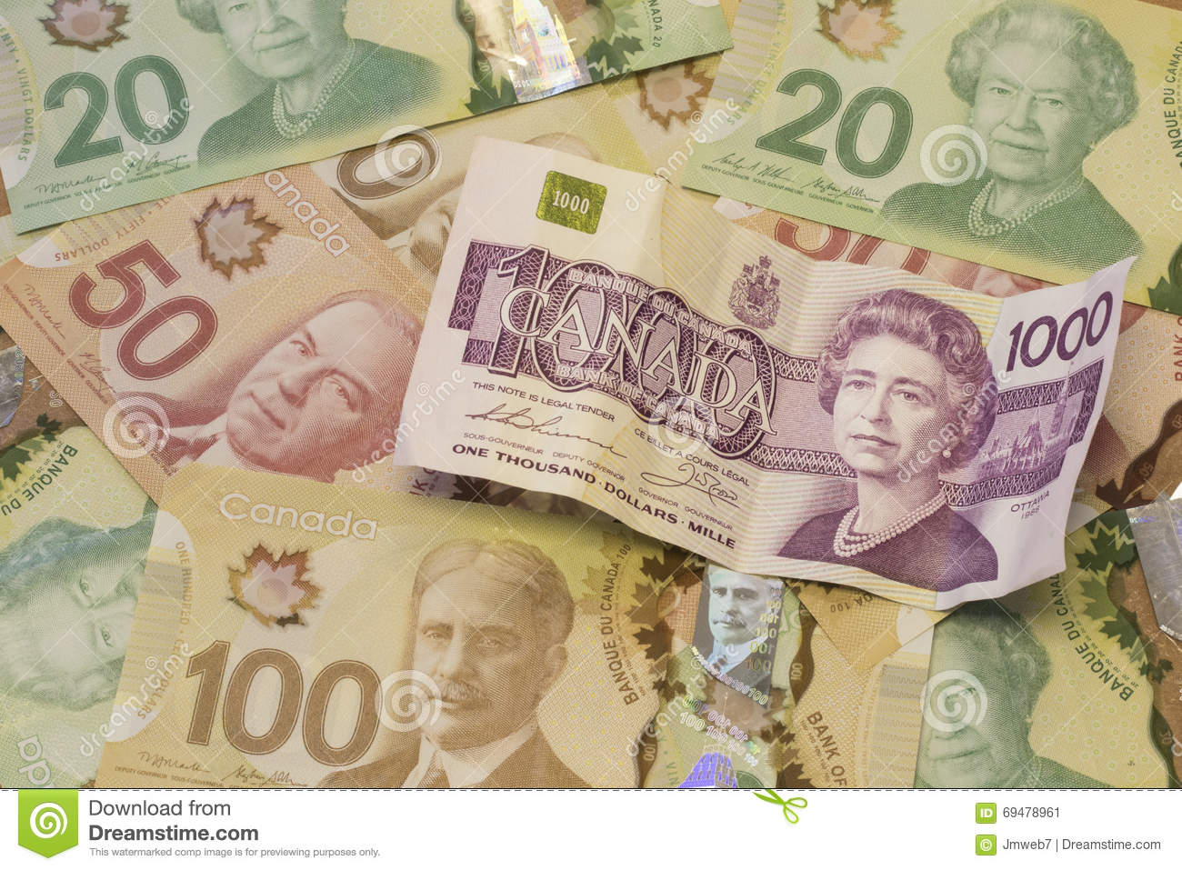 Canadian Dollar Currency/Bills Stock Image - Image of number