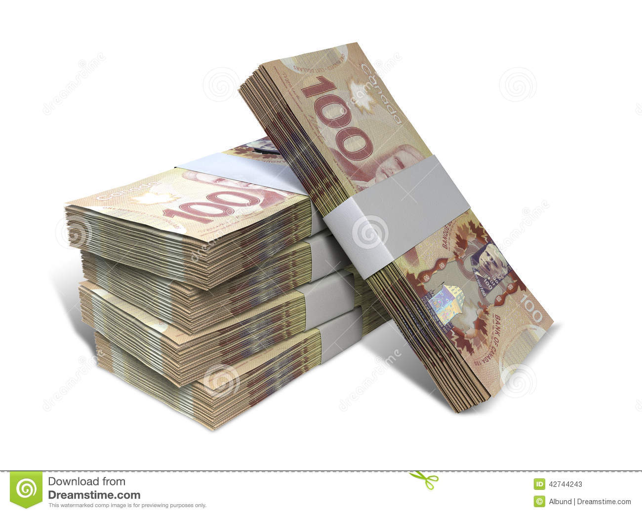 stack of bundled Canadian Dollar banknotes on an isolated background ...