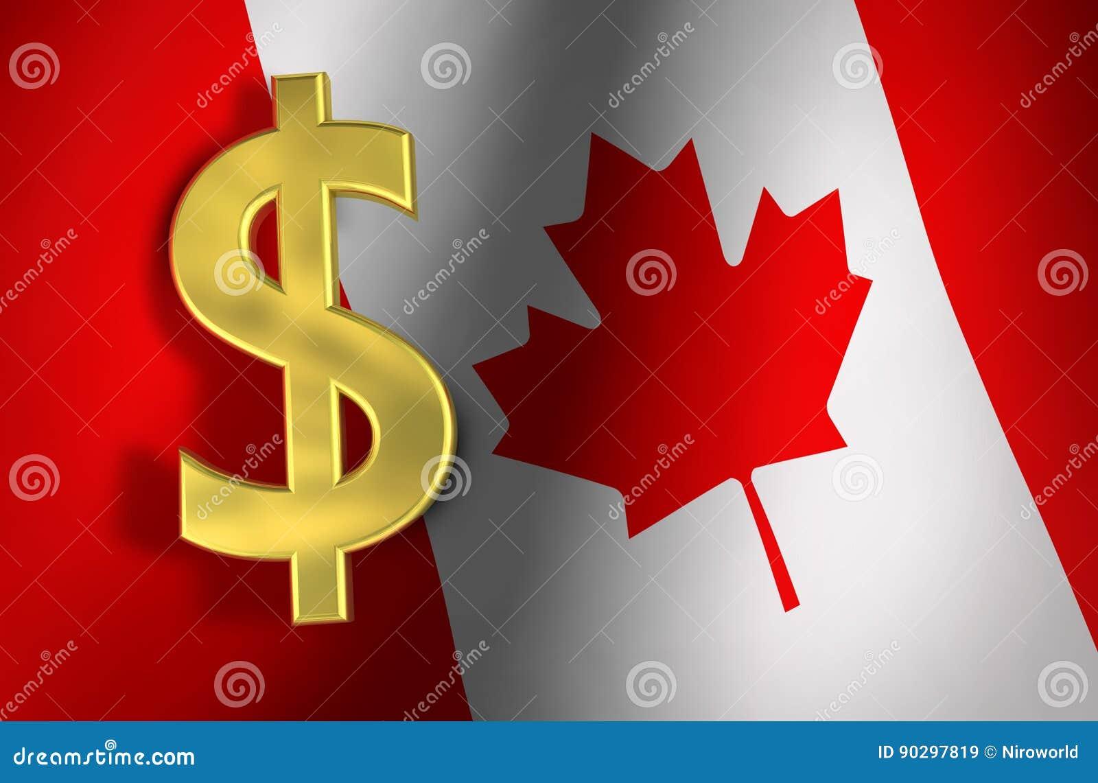 Canadian Dollar Symbol Canada Economy Concept Stock Illustration