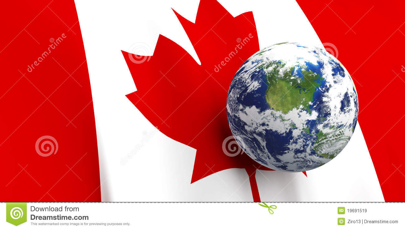 canadian flag u0026 the earth royalty free stock images image 19691519