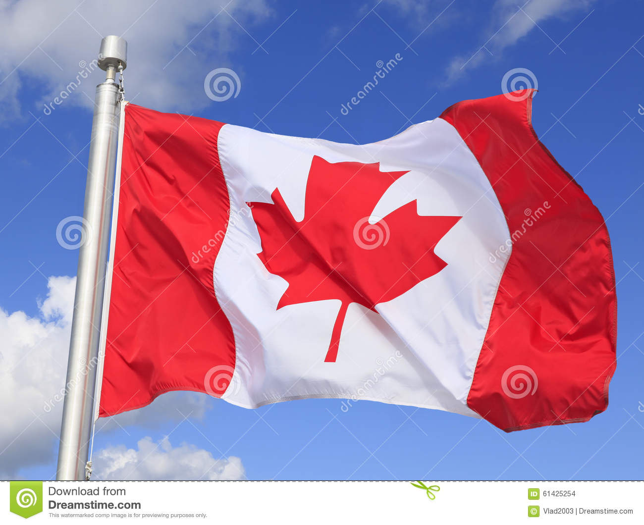 Canadian flag waving on the wind
