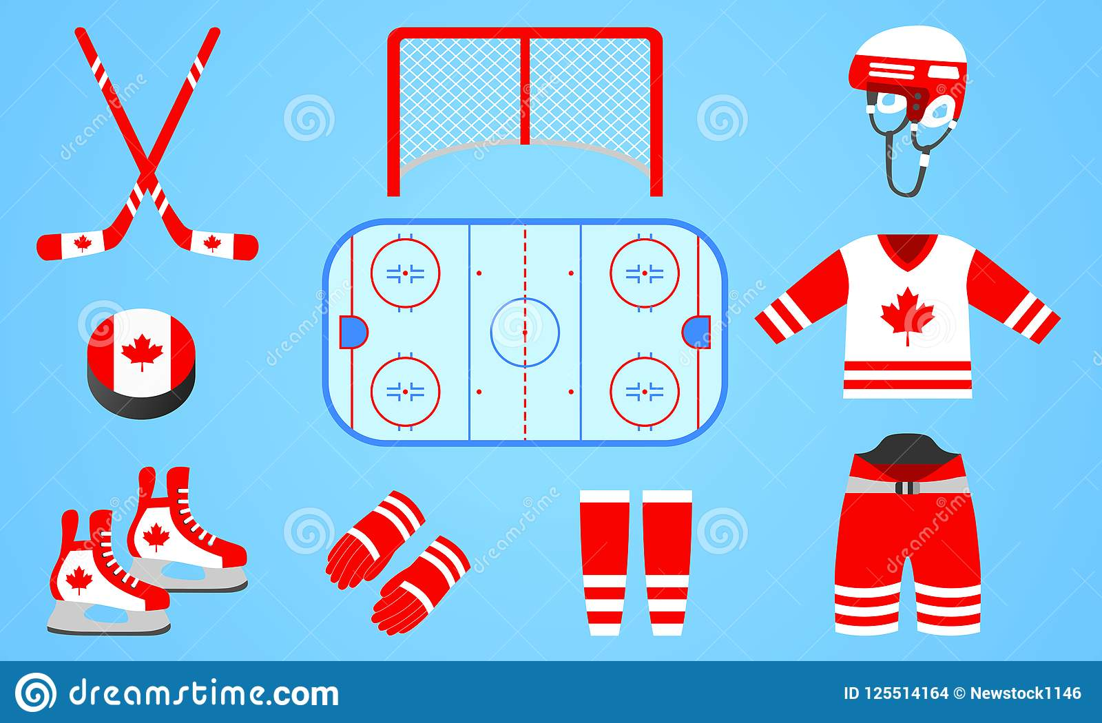 Canadian Ice Hockey Equipment Collection Vector Illustration
