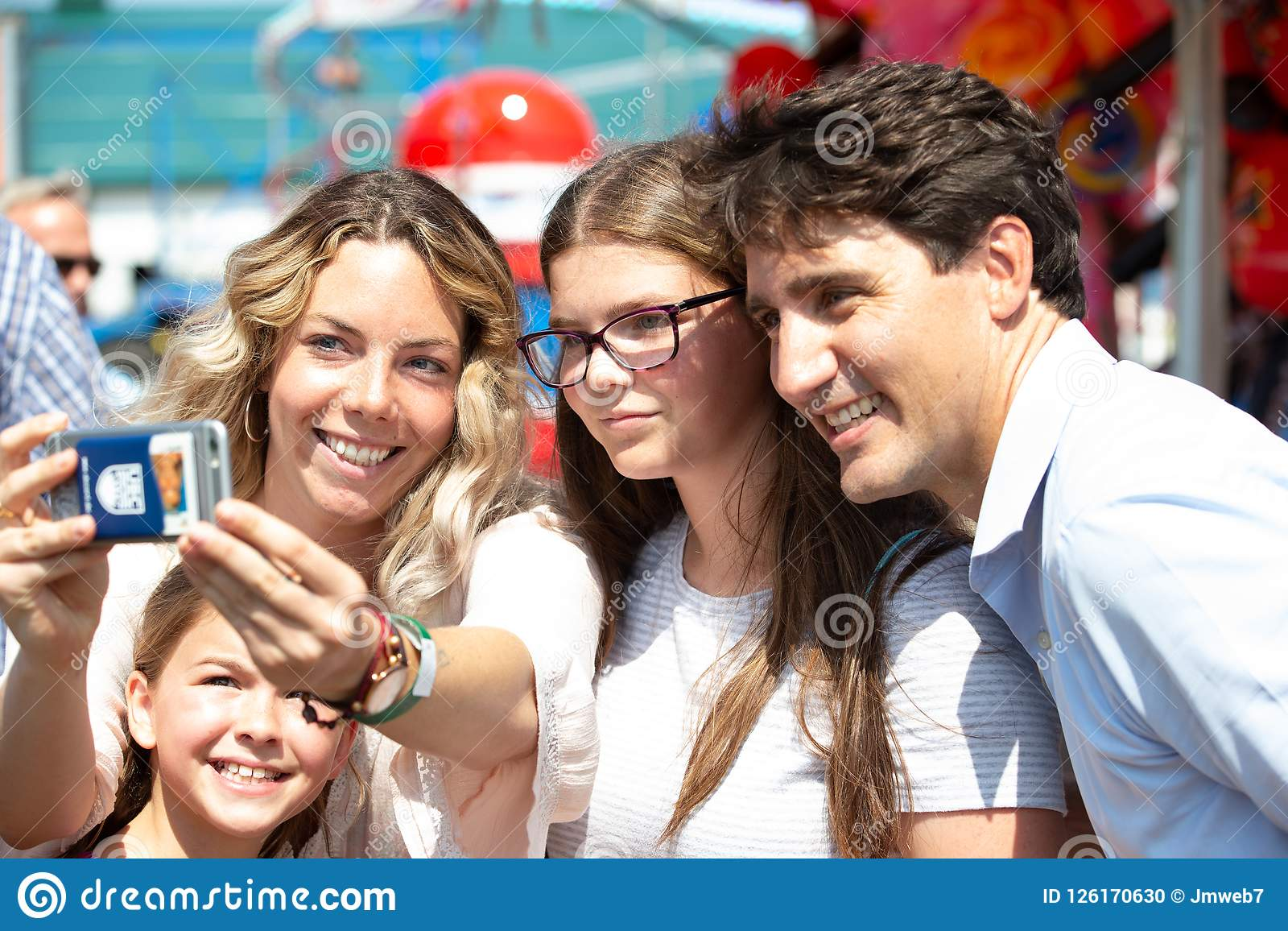 Canadian Prime Minister Justin Trudeau with girls