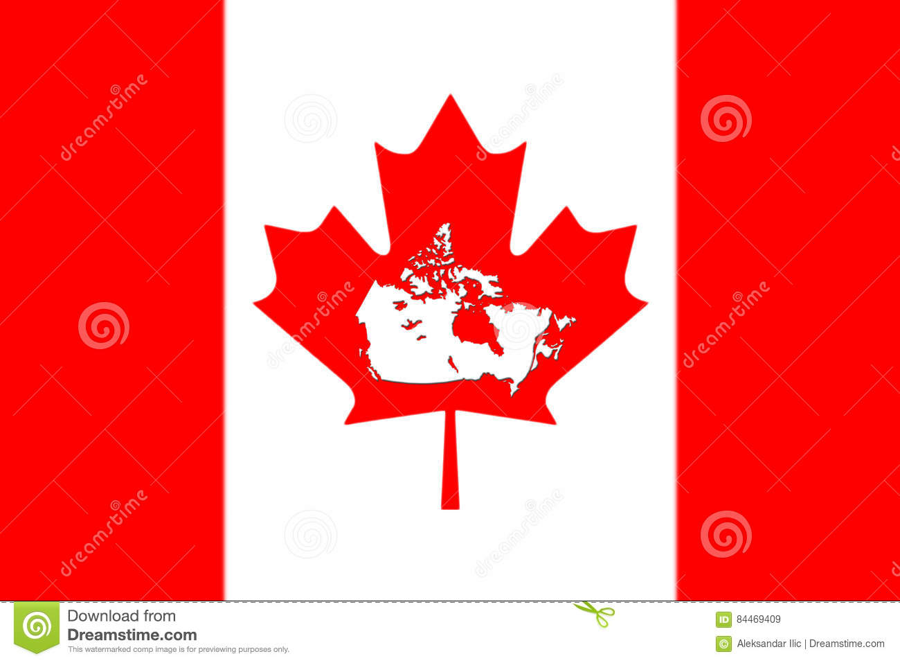 Canada Map Flag.Canadian Map With Flag On It 3d Rendering Stock Illustration