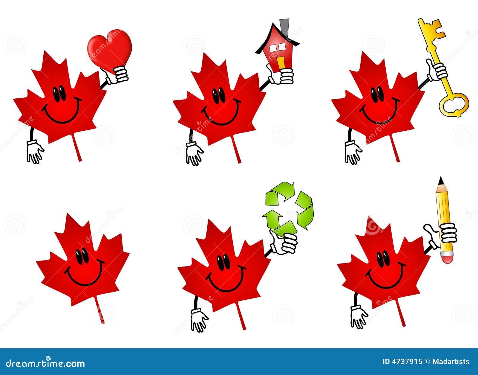 Canadian Maple Leaf Cartoons Royalty Free Stock Photo