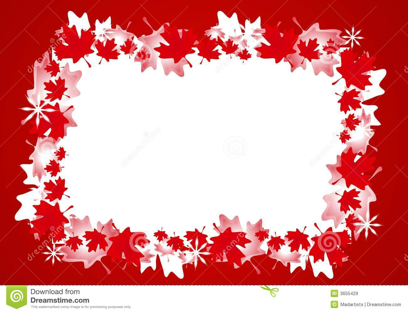 canadian maple leaf christmas border frame stock