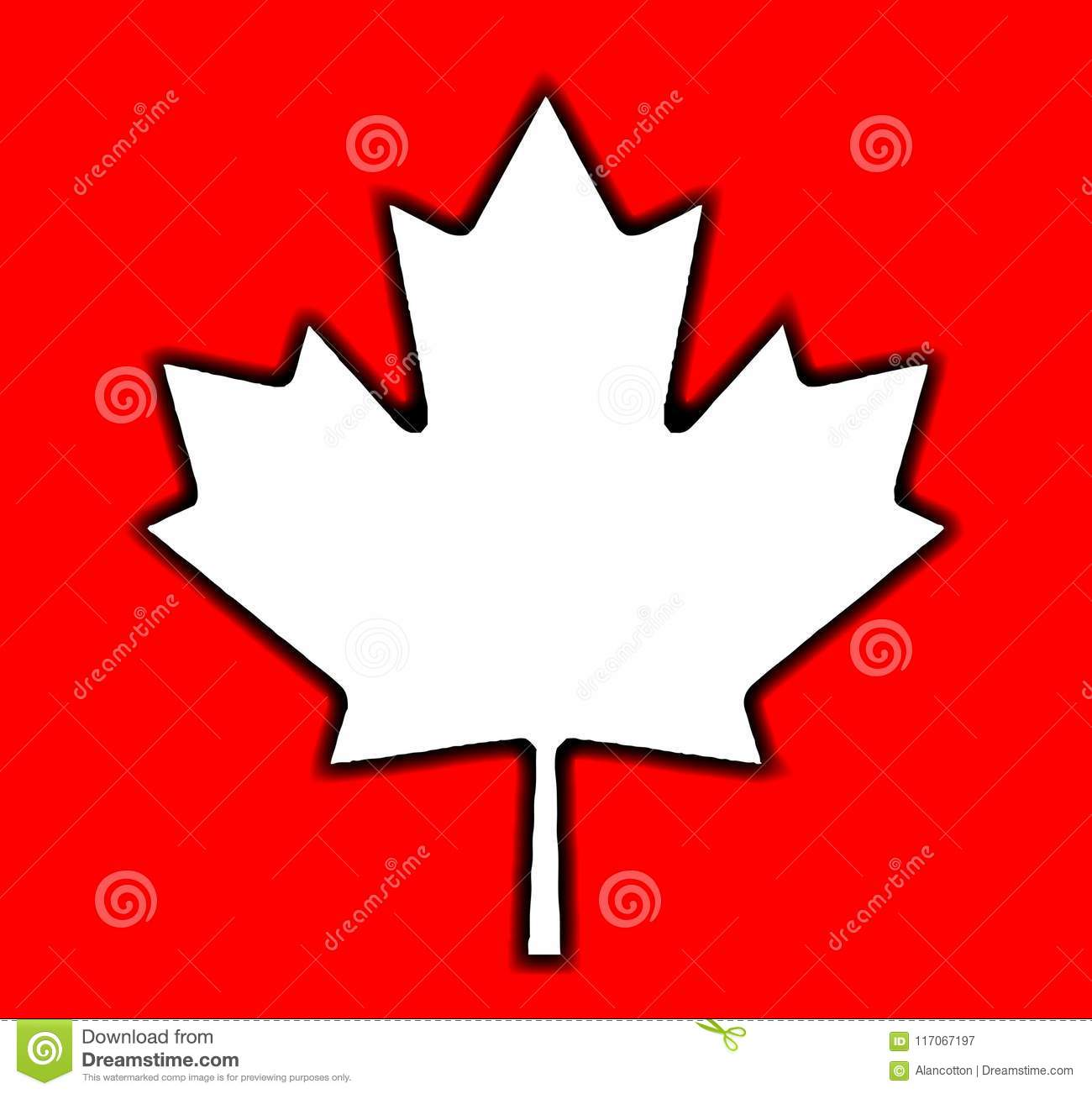 Canadian Maple Leaf Outline Drawing On Red Stock Vector