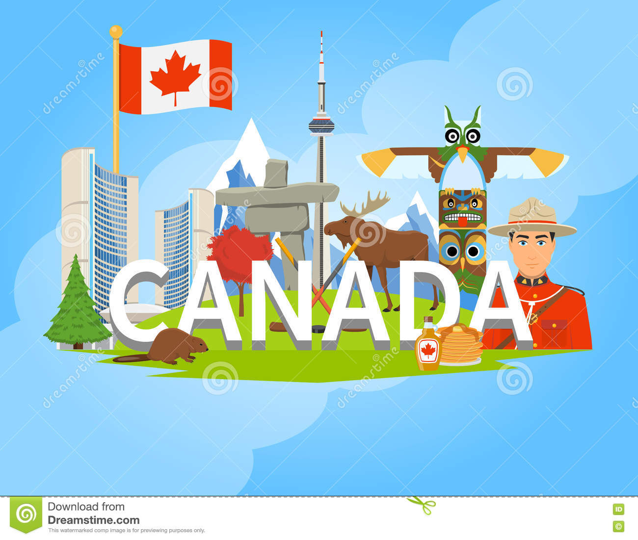 Canadian National Symbols Composition Flat Poster Stock Vector