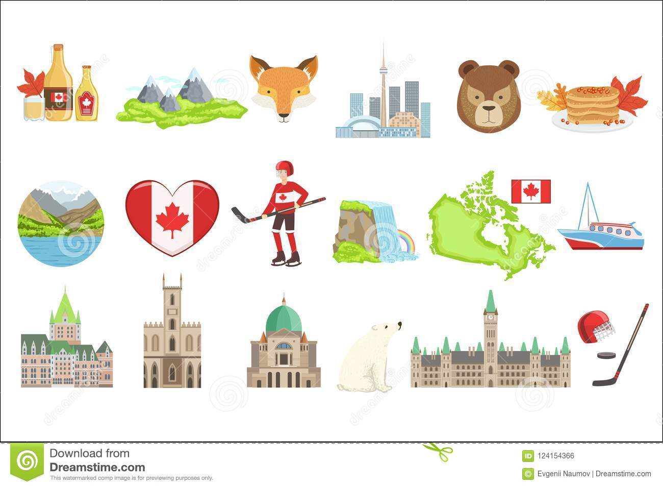 Canadian National Symbols Set Of Items Isolated Objects