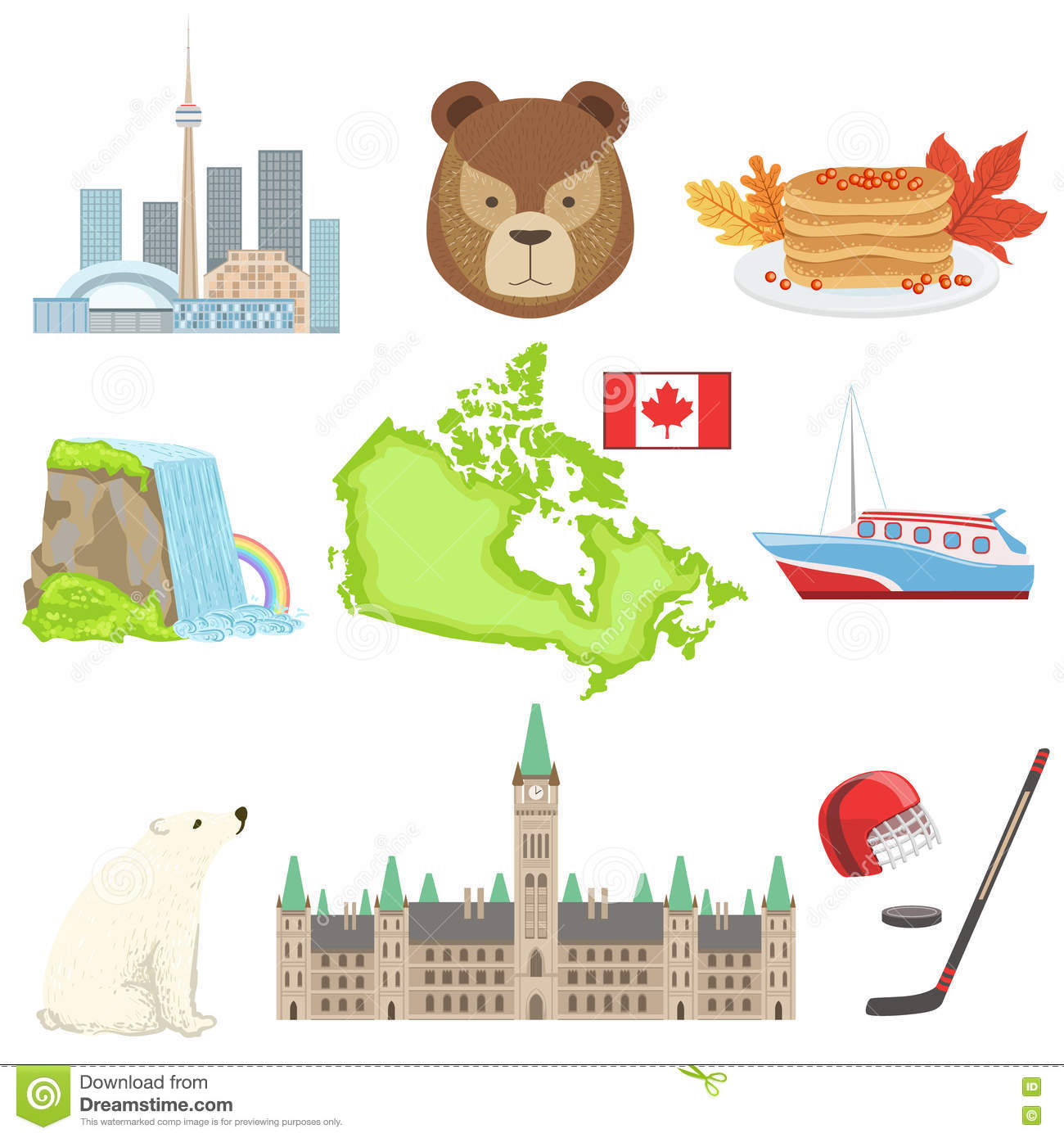 Canadian National Symbols Set Stock Vector Illustration Of Cold