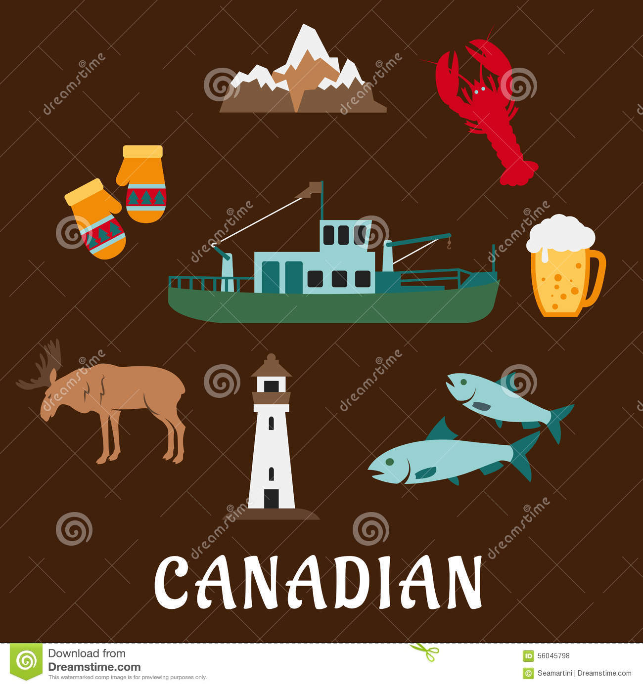Canadian Nature And Culture Symbols Stock Vector - Image: 56045798