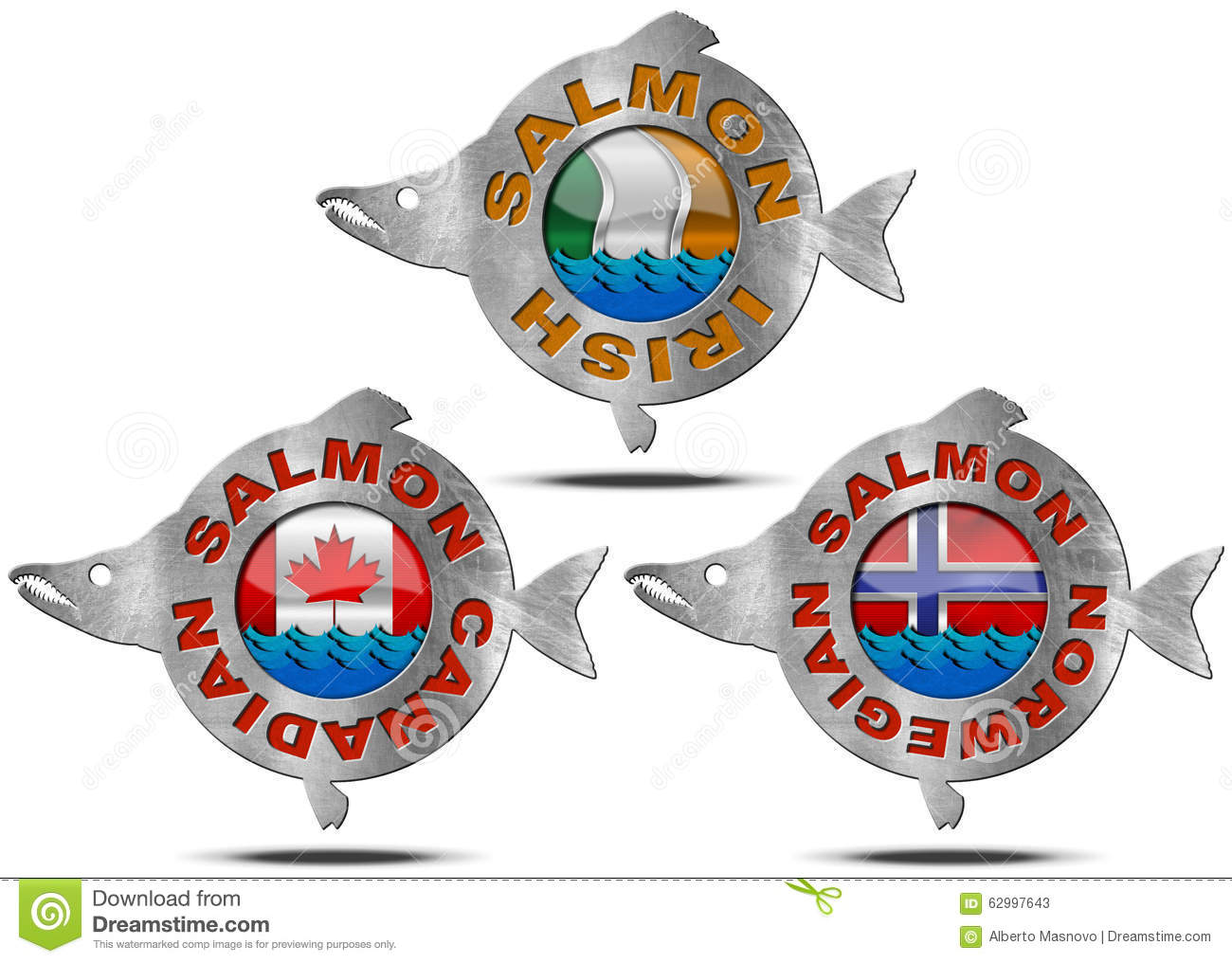 Canadian Norwegian Irish Salmon Icon Stock Illustration