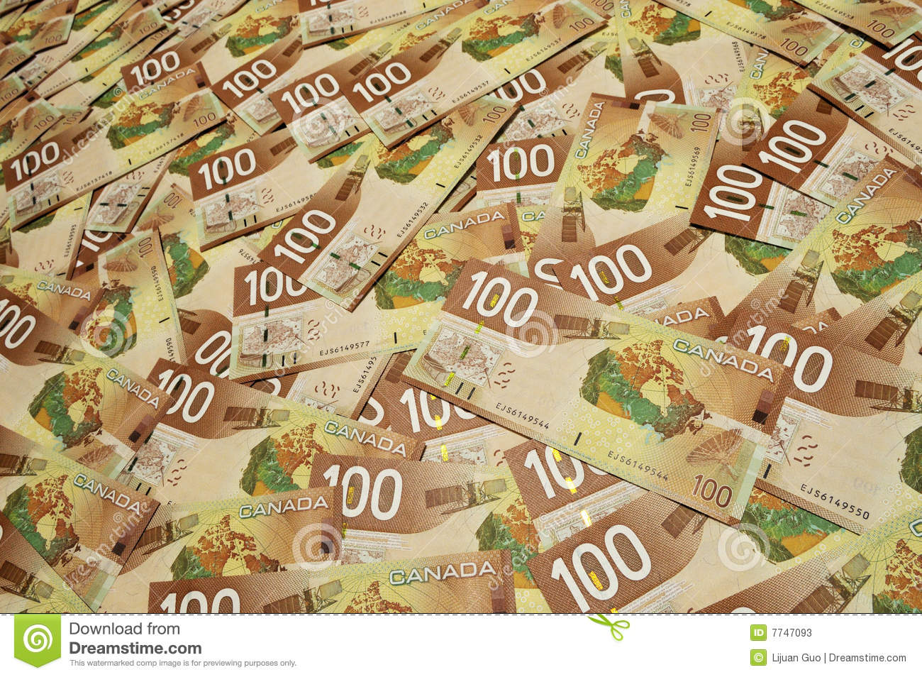 Canadian one hundred dollar bills