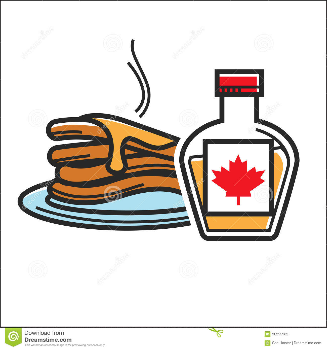 Canadian Pancakes In Maple Syrup Vector Isolated Canada Traditional