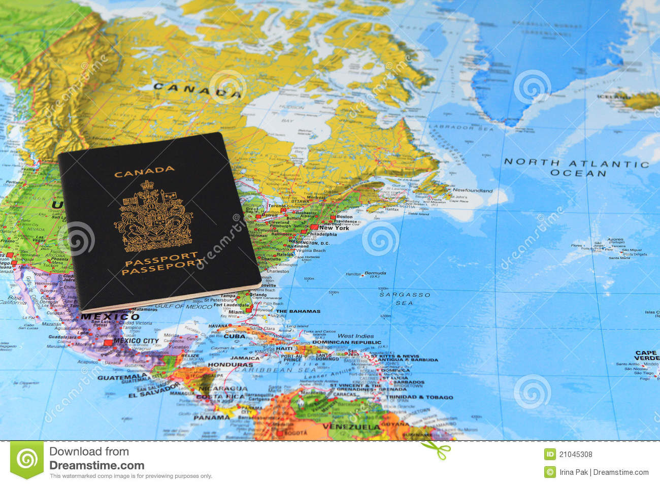 Canadian passport on the map stock photo image of country free canadian passport on the map gumiabroncs Images