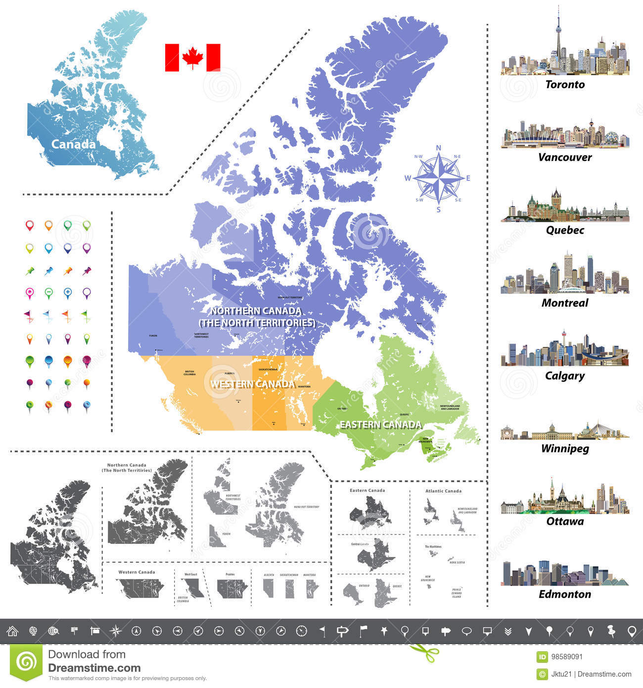 Map Of Canada And Provinces And Territories.Canadian Provinces And Territories Map Colored By Regions Stock