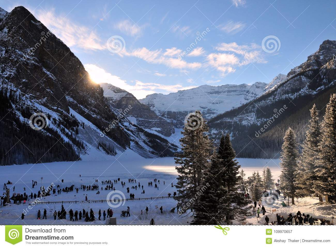 Canadian and tourists are enjoying ice festival at lake Louise in banff national park, Alberta, Canada.