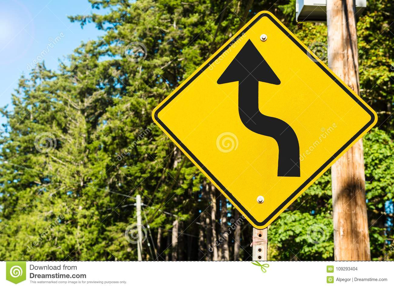 Canadian Traffic Sign Along A A Forest Road With Curves