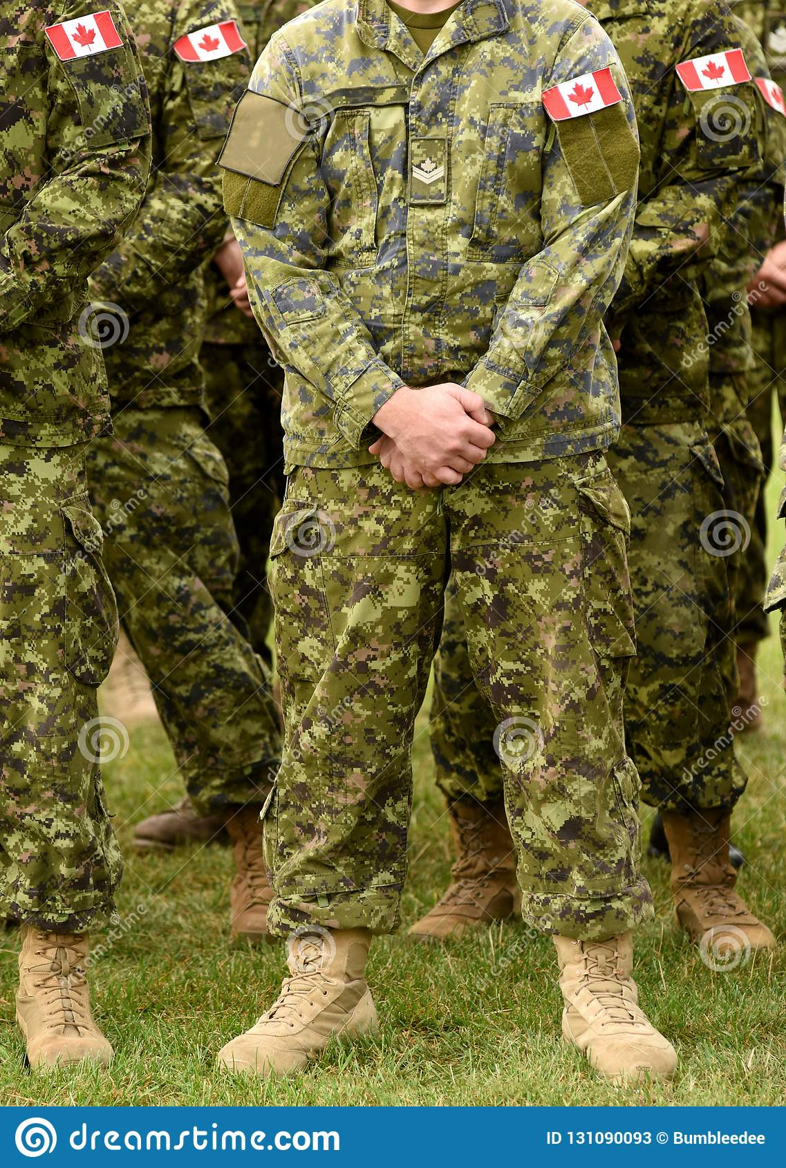 Canadian Troops  Canadian Army  Canada Flags On Soldiers Arm  Stock