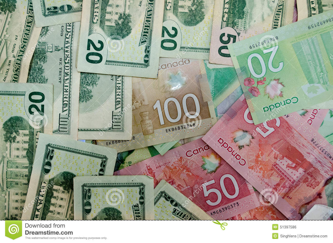 Canadian And Usa Currency Dollars Of Denomination 20 50