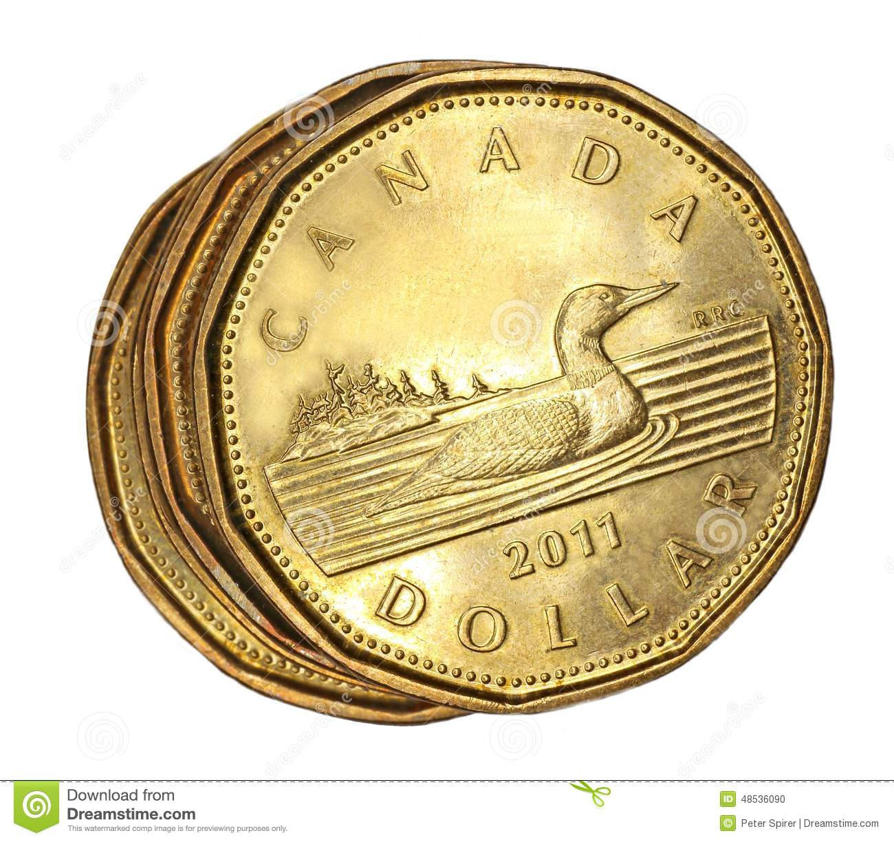 Canadiense Una Moneda Del Dólar Imagen editorial - Imagen de loon ...