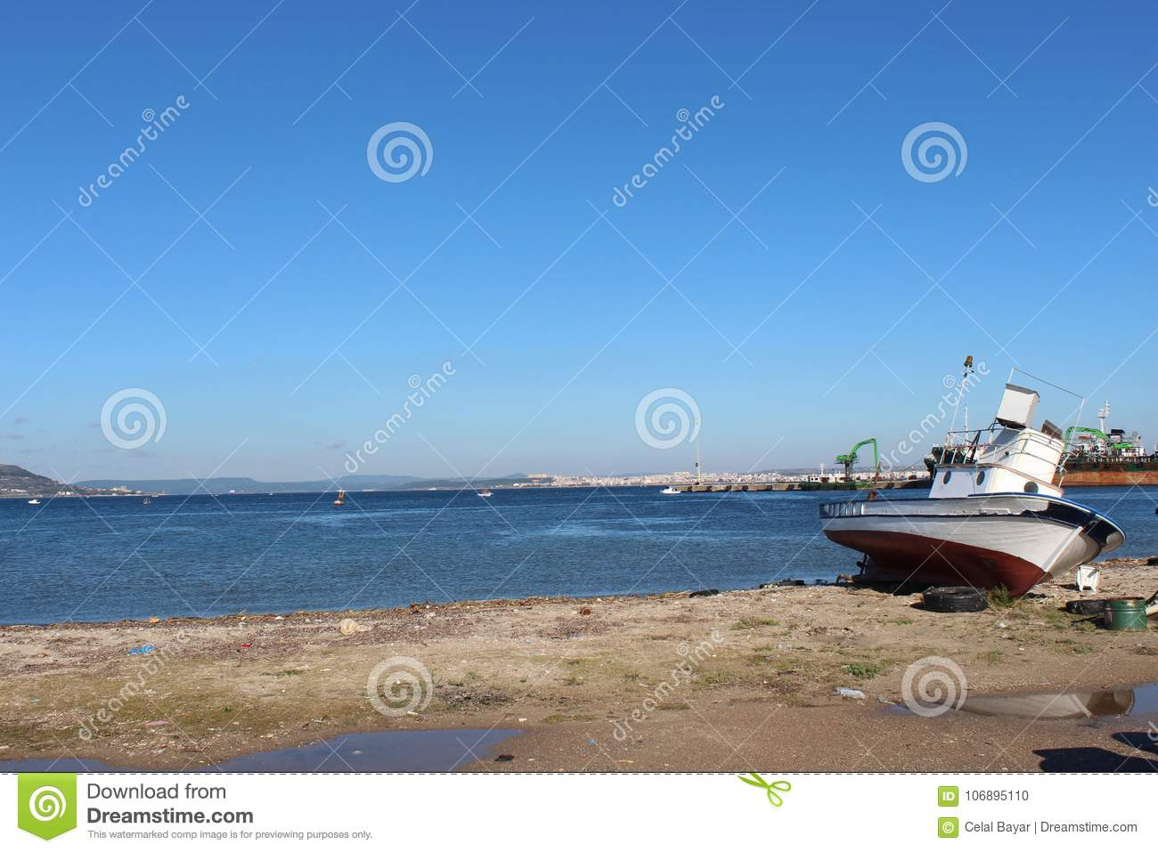 Canakkale throat and fishing boat