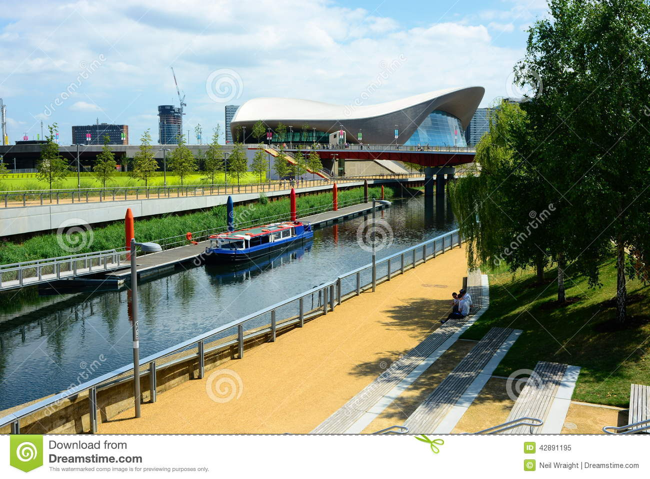 Canal Boat And London Olympic Aquatic Building Editorial Image Image 42891195