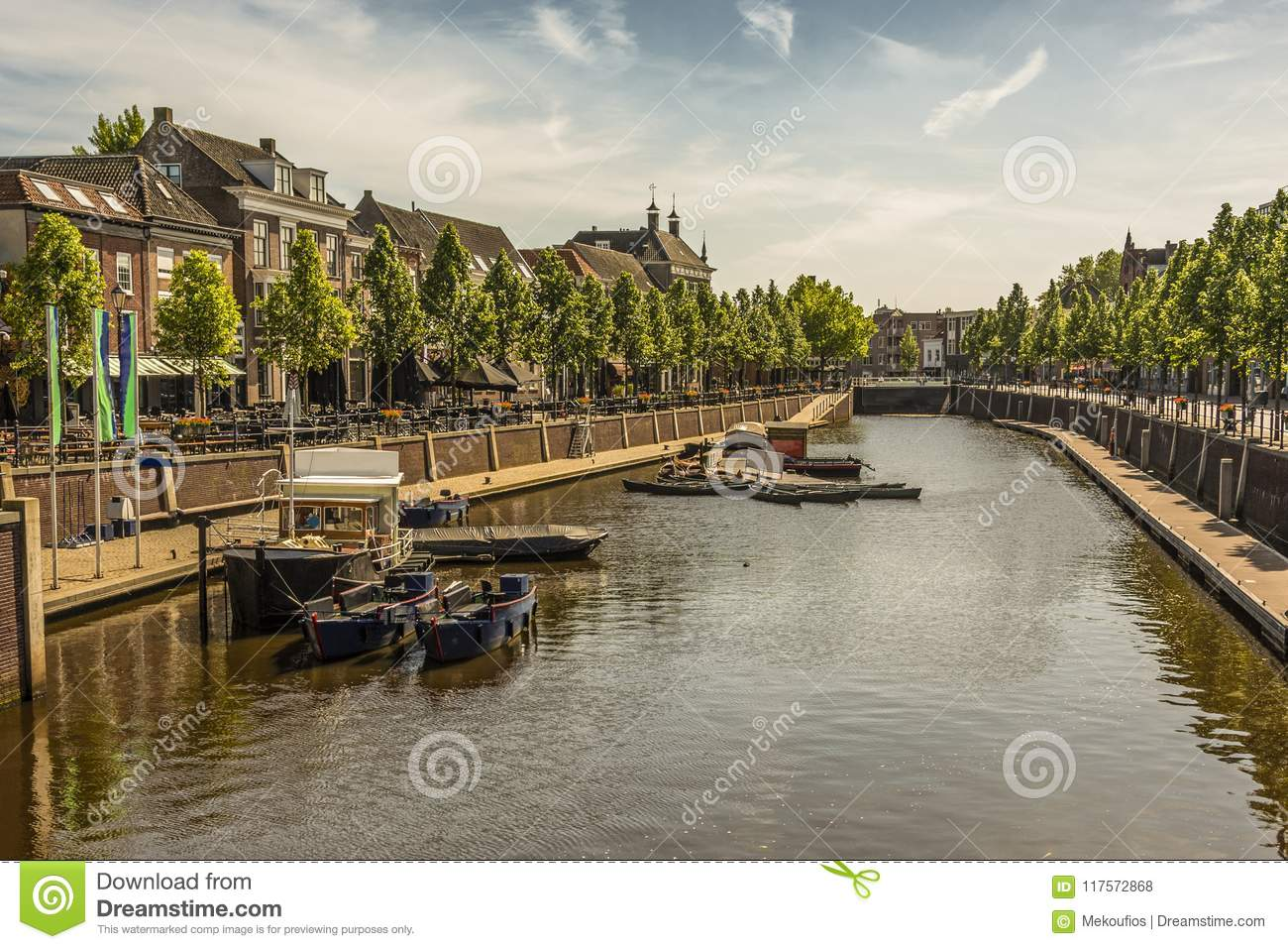 Canal and boats in the center of the city of breda. Netherlands