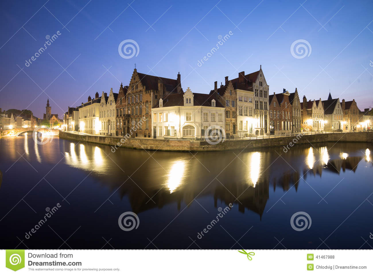 Canal Reflections in Bruges At Night